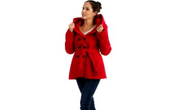 Krátký červený kabát s kapucí