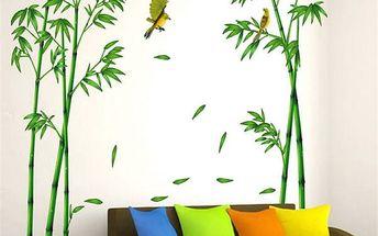 Samolepka na zeď - bambus s roztomilými ptáčky