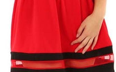 Áčkové večerní šaty na dvojitá ramínka červená