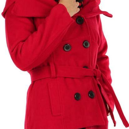 Krátký kabát s límcem červená