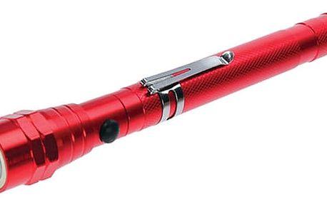 Svítilna LED teleskopická 3x LED magnet červená