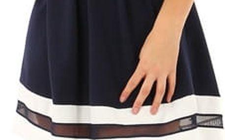 Áčkové večerní šaty na dvojitá ramínka tmavě modrá