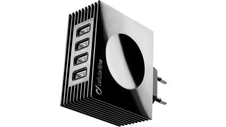 CellularLine nabíječka Quad Ultra 4xUSB, 21W/4.2 A max, černá - ACHUSBQUAD4AK