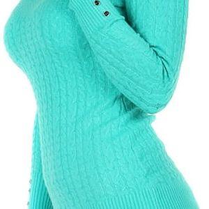 Delší svetřík s ozdobnými knoflíky tyrkysová