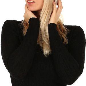 Pletená čepice s kamínky černá