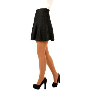 Úpletová sukně s ozdobnými proužky šedá