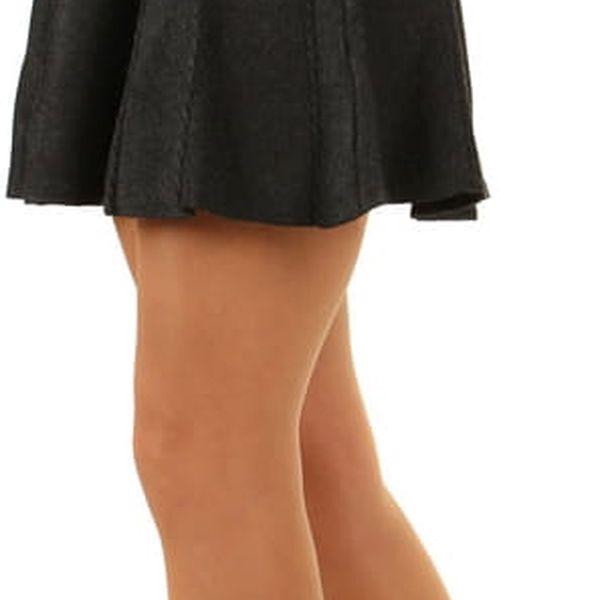 Dámská úpletová sukně s ozdobnými proužky šedá