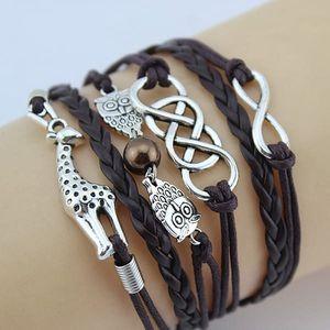 Vícevrstvé náramky s žirafou a sovičkami