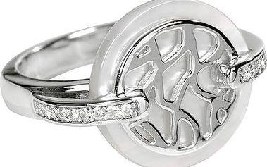 Silver Cat Stříbrný prsten s perletí a krystaly SC154 56 mm