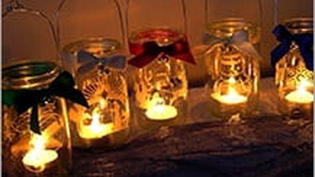 Svícny s pískovanými vánočními motivy. Vyzdobte si byt originální vánoční dekorací, kterou lze i zavěsit.
