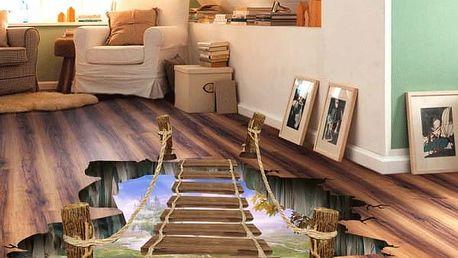 3D samolepka na podlahu - Most přes propast