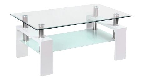 Konferenční Stolek Silvia bílá, čiré 100/45/60 cm