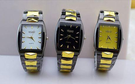 Pánské business hodinky s obdélníkovým ciferníkem - dodání do 2 dnů