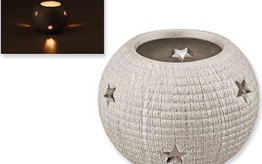 Vánoční svícen s hvězdičkami - bílá barva - dodání do 2 dnů