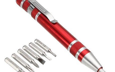 Minišroubovák ve tvaru pera s výměnnými bity - 7v1