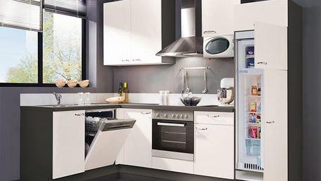 Slowfox - Kuchyň rohová, 280x175cm (bílá/šedá)