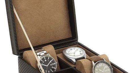 Hnědý box na čtvery hodinky Carbon - doprava zdarma!
