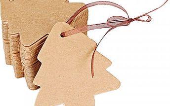 100 kusů dárkových visaček - stromek - dodání do 2 dnů