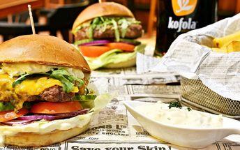 Poctivé burger menu včetně půllitrového nápoje