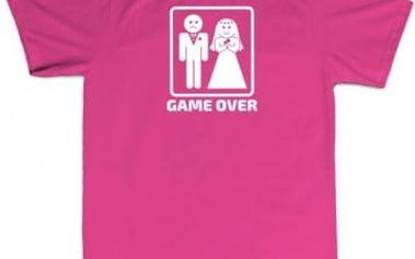 Tričko - GAME OVER - růžové - XXXL