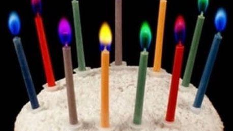 Barevně hořící svíčky na dort