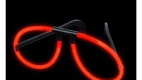 Svítící brýle (spojka + 2ks tyčinek) - červená