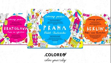 Vybarvovací mapy měst na plakátě - Praha, Bratislava, Berlín