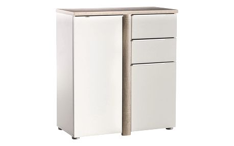 Komoda 2 dveře + 2 zásuvky NOBEL dub/perleťově bílá