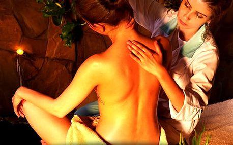 Půlhodinová masáž zad a šíje, hodinová celotělová thajská olejová masáž nebo masáž pro páry.