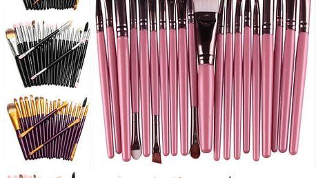 Sada 20 kosmetických štětců - různé barvy