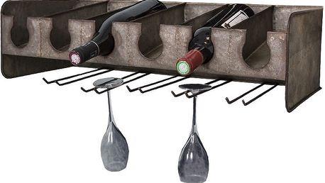 Stojan na víno a sklenky Industrial - doprava zdarma!