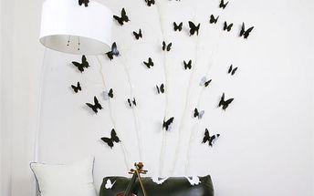 Sada samolepek - 3D motýlci různých velikostí - 12 ks