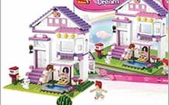 Růžový domeček ze stavebnice Sluban. Udělejte radost svým ratolestem oblíbenou skládačkou!