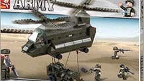 Stavebnice Sluban - nechejte vaše dítko poskládat skvělý vojenský vrtulník i s tereňákem. Tip na Vánoce!