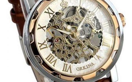 Mechanické hodinky pro muže s hnědým páskem