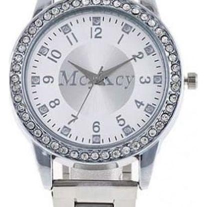 Náramkové unisex hodinky zdobené kamínky - stříbrná barva - dodání do 2 dnů