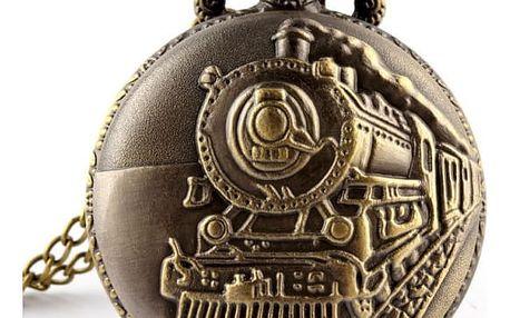 Kapesní retro hodinky s obrázkem lokomotivy