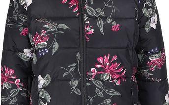 Černá dámská prošívaná bunda s potiskem květů Tom Joule Florian
