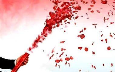 Vystřelovací konfety svatební 40cm - červená