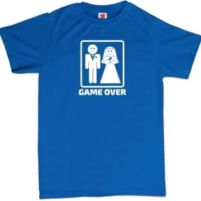 Tričko - GAME OVER - modré - XXXL