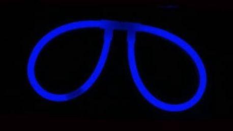 Svítící brýle (spojka + 2ks tyčinek) - modrá