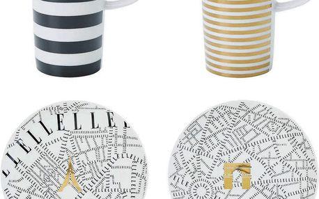 Set 2 hrnečků a 2 talířků na espresso Elle Plan De Paris