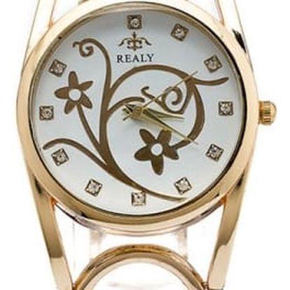 Netradiční náramkové hodinky s kulatým ciferníkem - Dámské