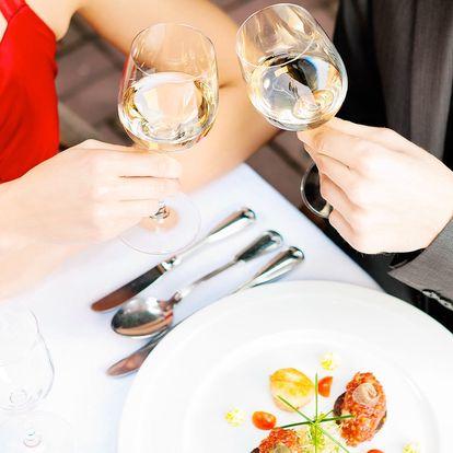 Zamilované menu: 4 chody a lahvinka vína pro dva