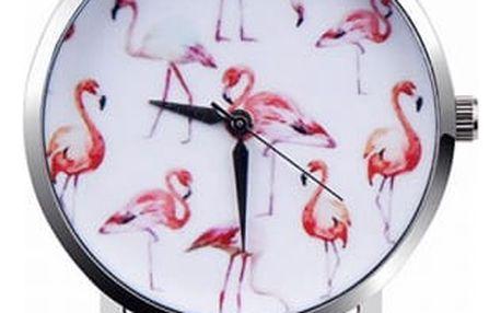 Dámské hodinky s motivy plameňáků