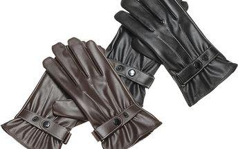 Pánské koženkové rukavice na dotyková zařízení