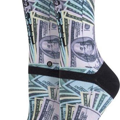 Fialovo-černé dámské ponožky s potiskem bankovek Stance One Dolla