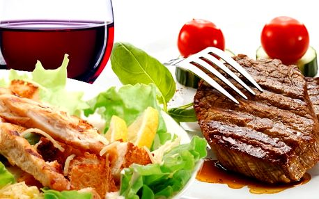 2x rumpsteak s grilovanou zeleninou a hranolky ve Švejk Restaurantu v Praze