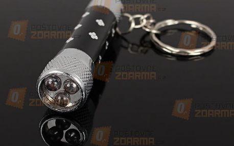 Klíčenka s LED svítilnou se třemi diodami - dodání do 2 dnů