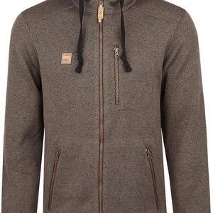 GODRIC pánský sportovní svetr/kapuce hnědá XL